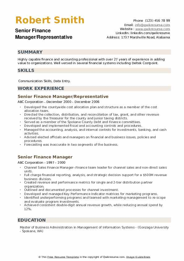 Assistant Director Of Finance Resume example