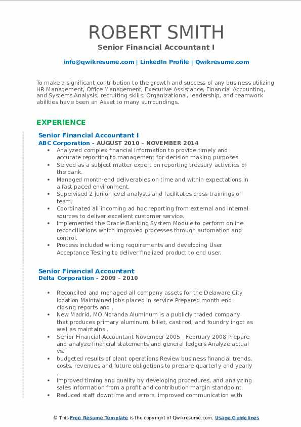 senior financial accountant resume samples  qwikresume
