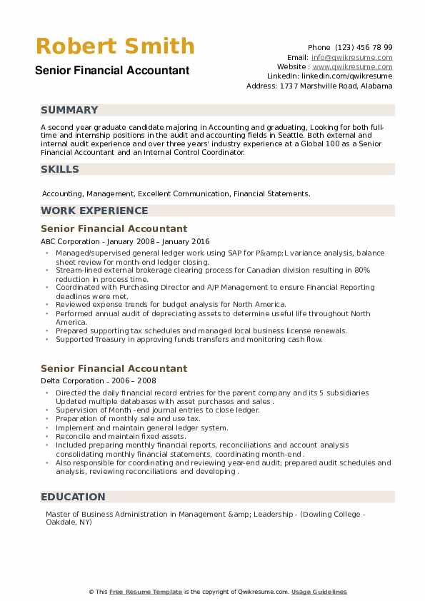 Senior Financial Accountant Resume example