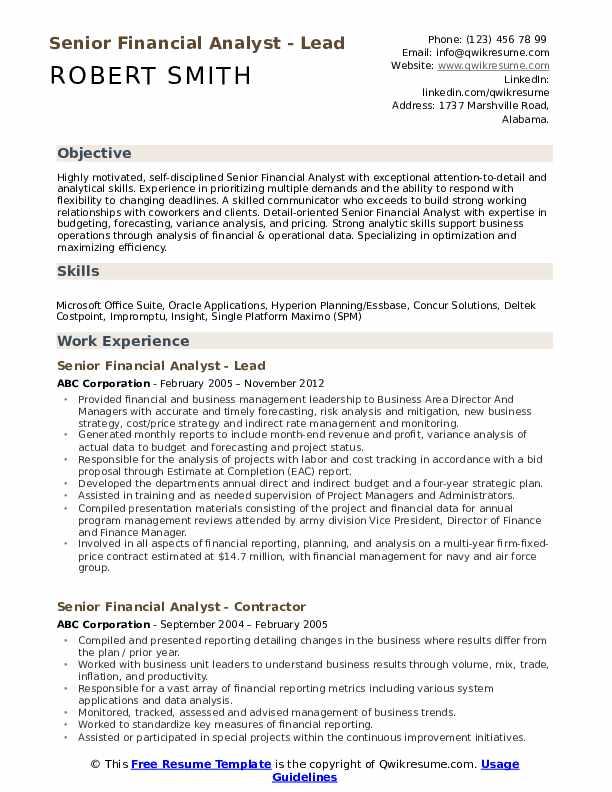Senior Financial Analyst - Lead Resume Example
