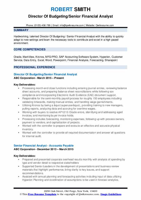 Director Of Budgeting/Senior Financial Analyst Resume Example
