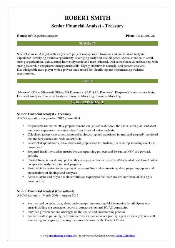 senior financial analyst resume samples