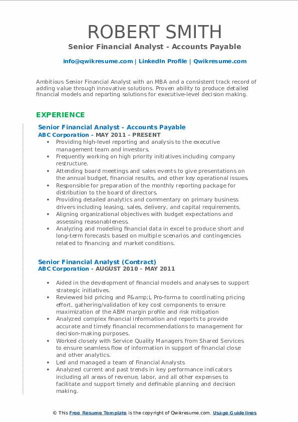 Senior Financial Analyst - Accounts Payable Resume Sample
