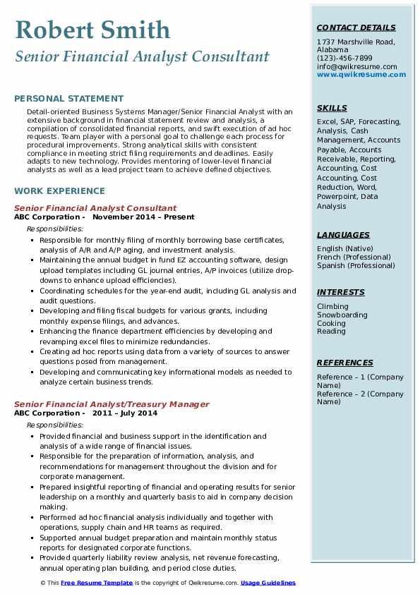 Senior Financial Analyst Consultant Resume Example