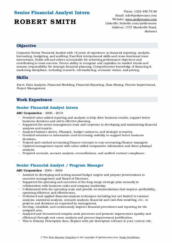 Senior Financial Analyst Intern Resume Sample
