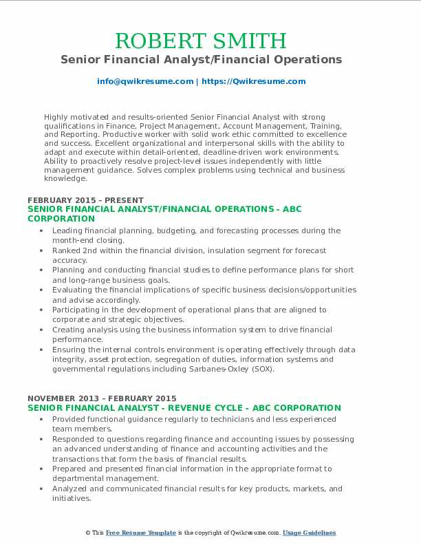 Senior Financial Analyst/Financial Operations Resume Template
