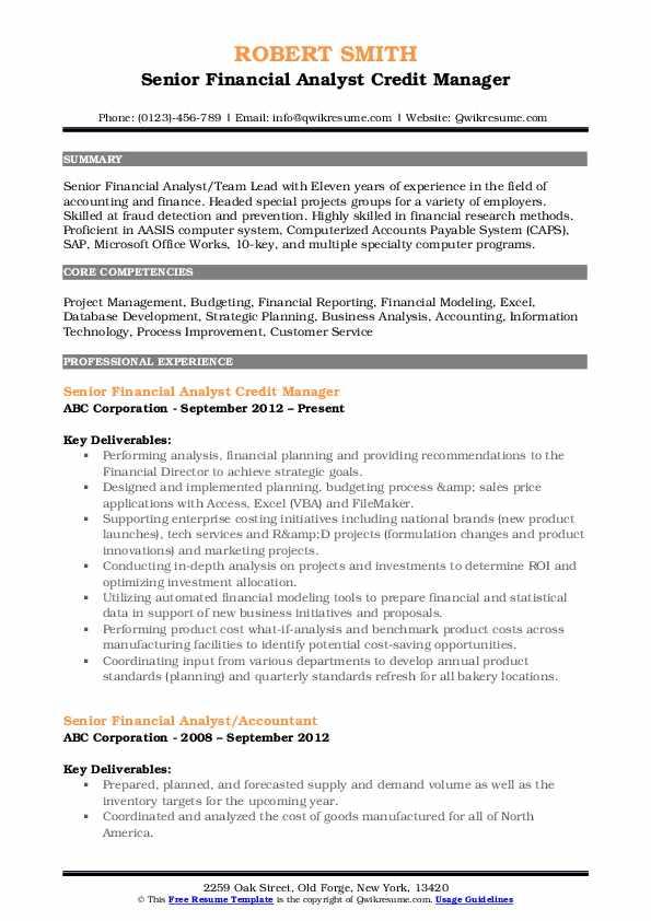 Senior Financial Analyst Credit Manager Resume Sample