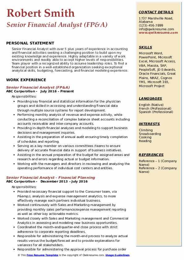 Senior Financial Analyst (FP&A) Resume Model