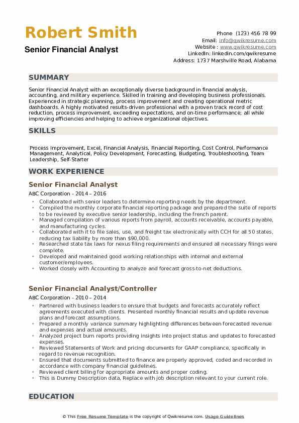senior financial analyst resume samples
