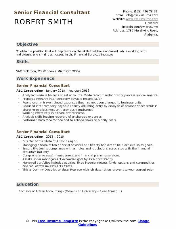 Senior Financial Consultant Resume example