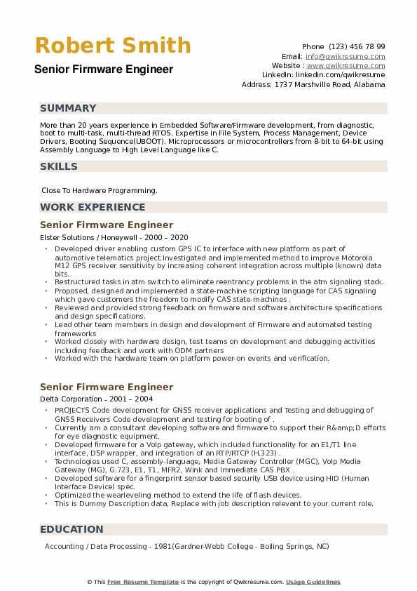 Senior Firmware Engineer Resume example