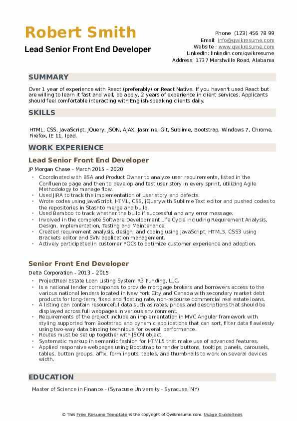 Senior Front End Developer Resume example