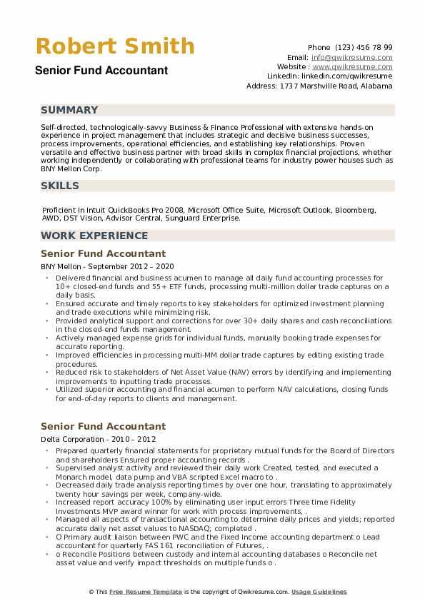 Senior Fund Accountant Resume example