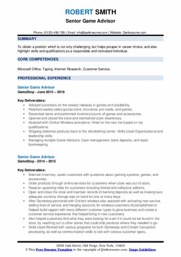Senior Game Advisor Resume example