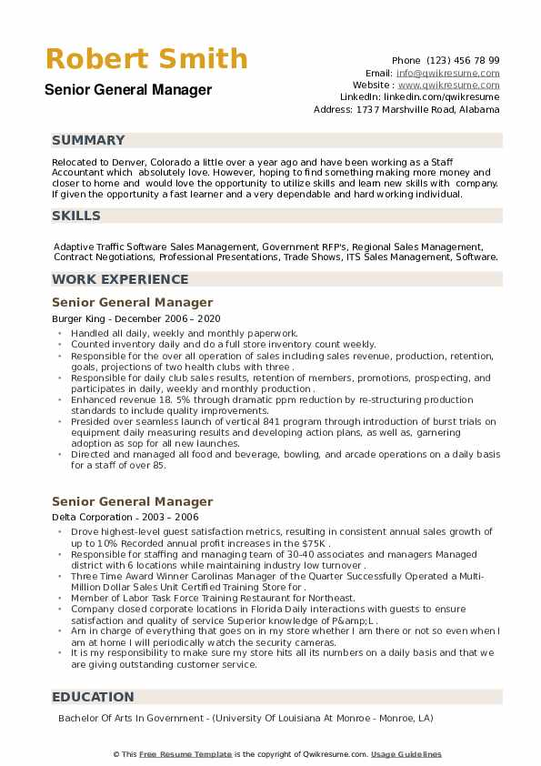 Senior General Manager Resume example
