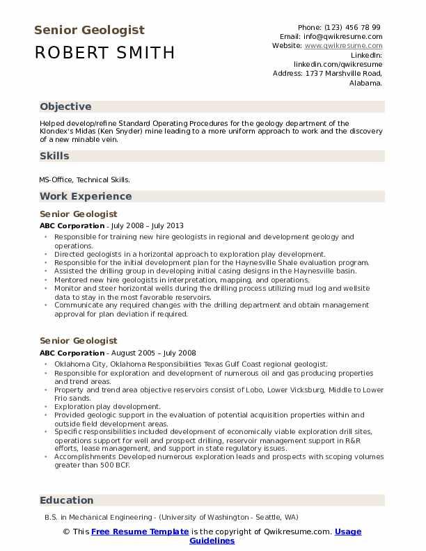 Senior Geologist Resume example