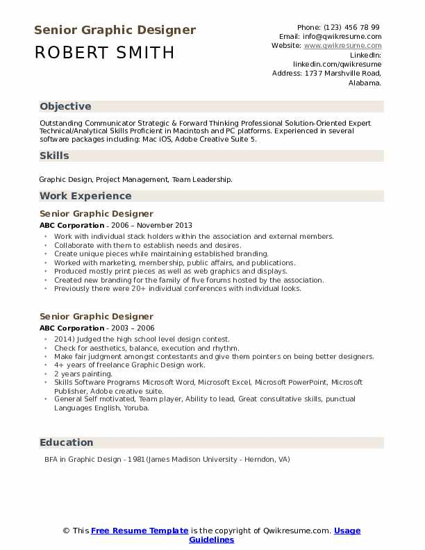 Senior Graphic Designer Resume Samples Qwikresume