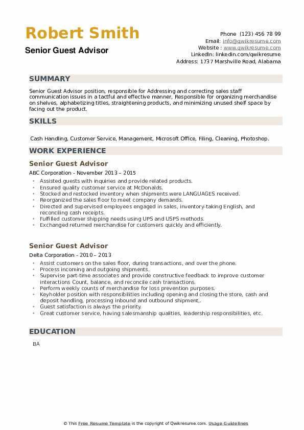 Senior Guest Advisor Resume example