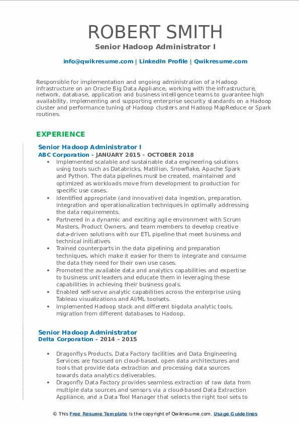 senior hadoop administrator resume samples  qwikresume
