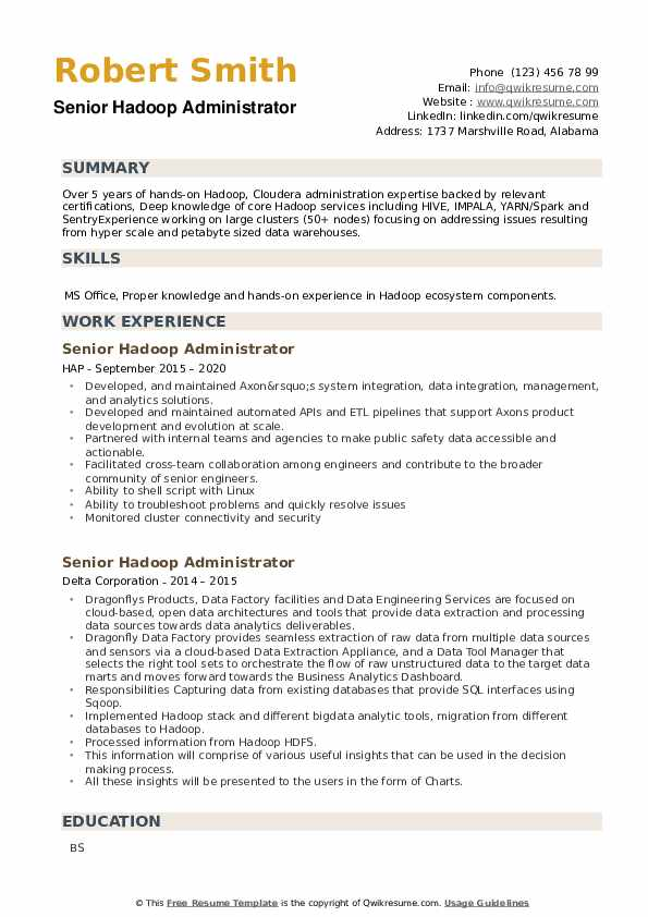 Senior Hadoop Administrator Resume example