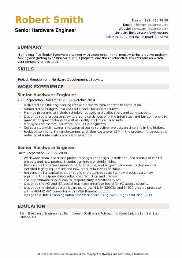 Senior Hardware Engineer Resume example
