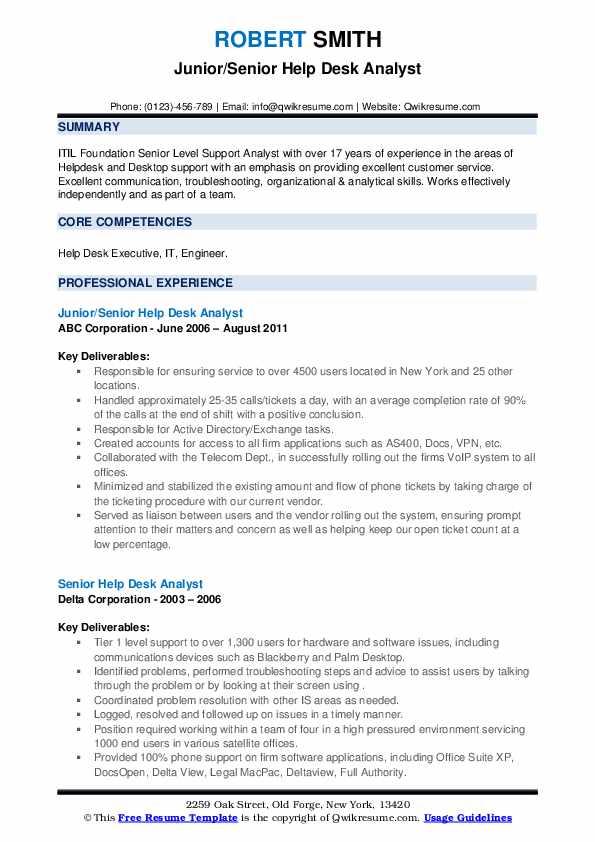 senior help desk analyst resume samples