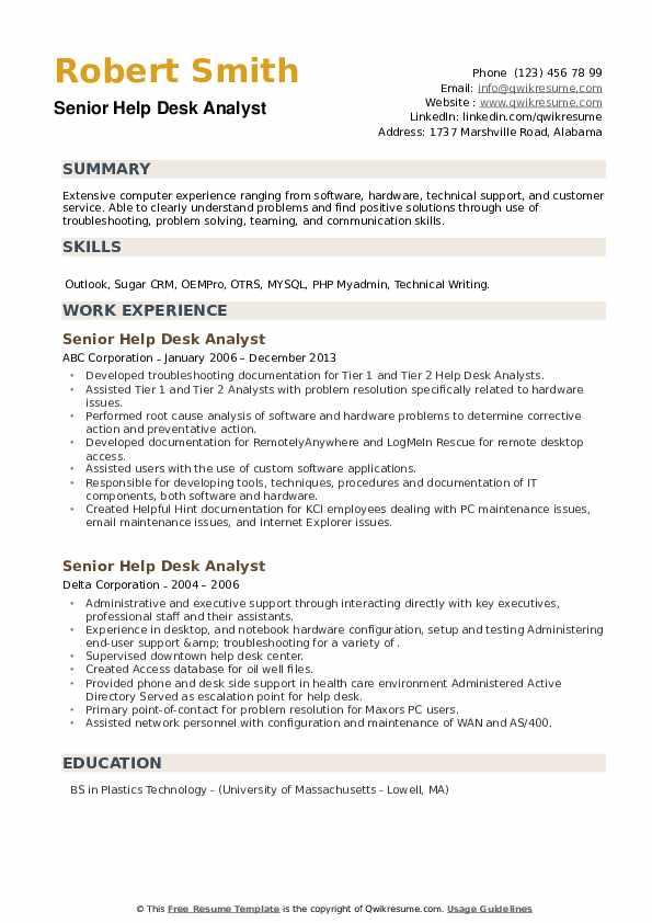 Senior Help Desk Analyst Resume example