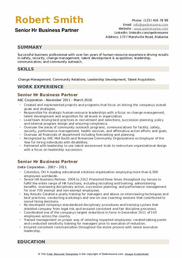 Senior HR Business Partner Resume example