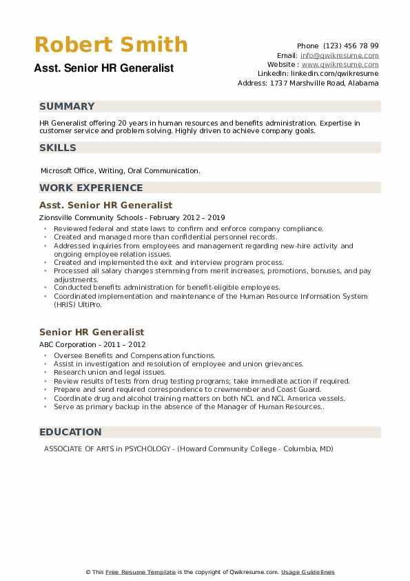 senior hr generalist resume samples  qwikresume