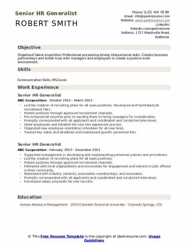 Senior HR Generalist Resume example