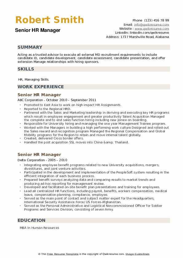 Senior HR Manager Resume example