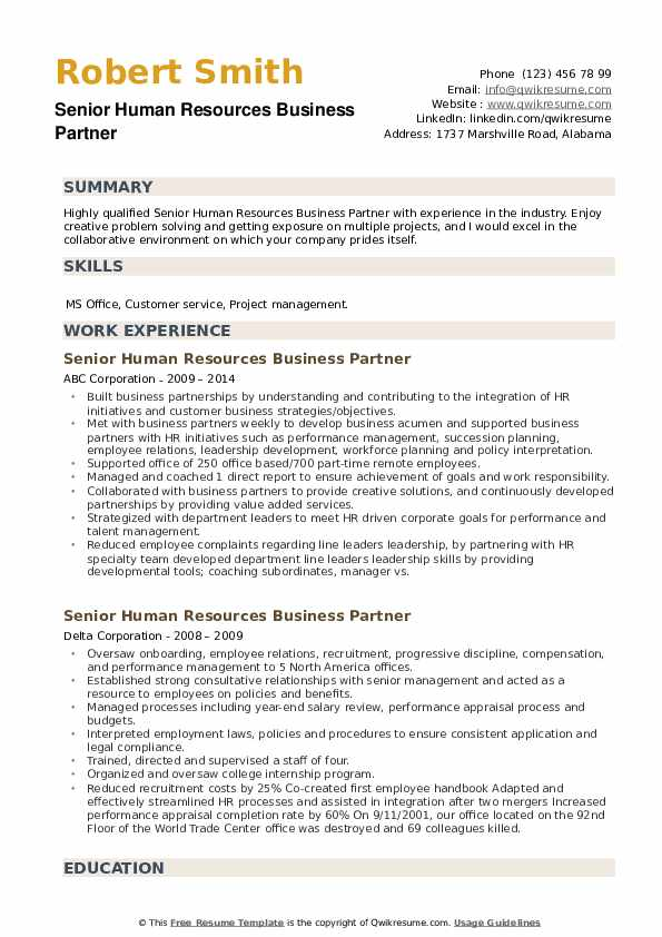 Senior Human Resources Business Partner Resume example