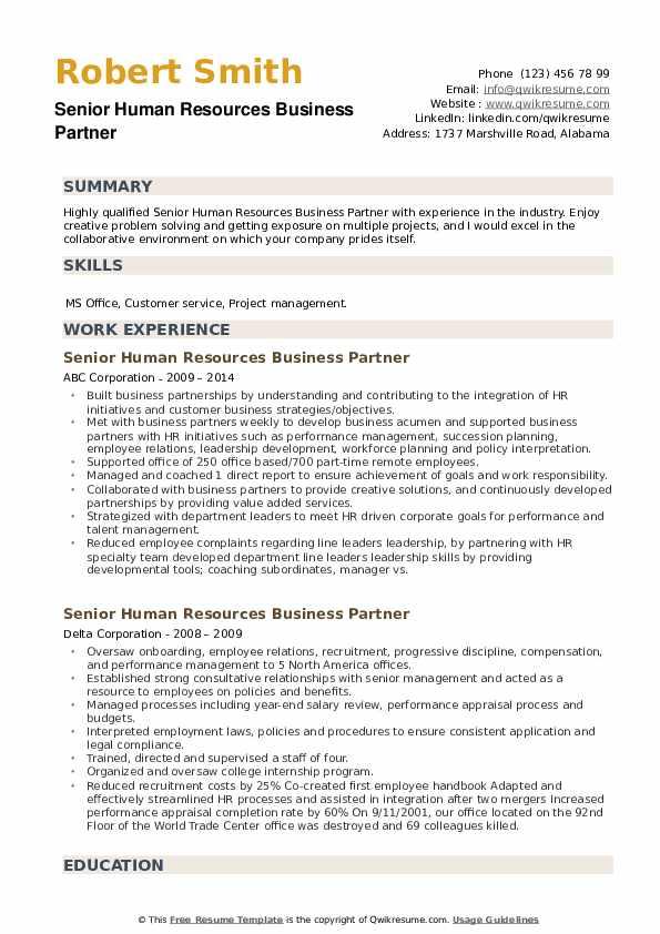 senior human resources business partner resume samples