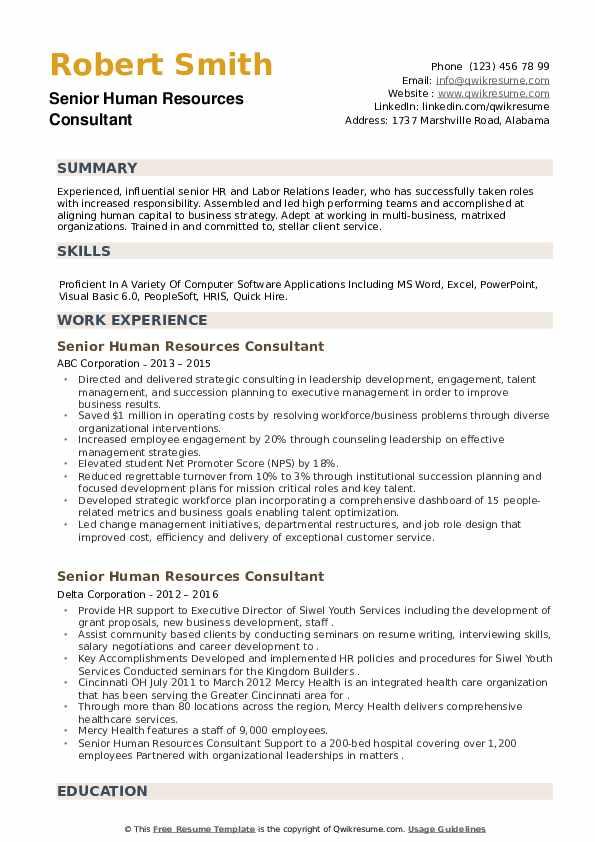 Senior Human Resources Consultant Resume example