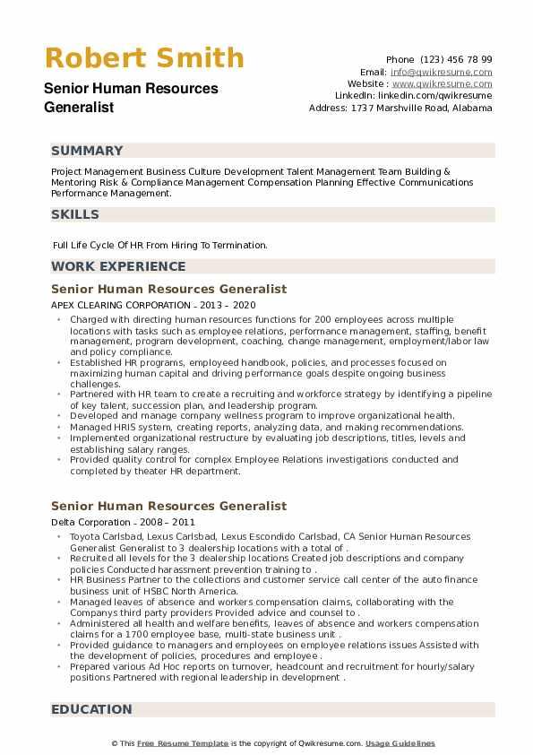 Senior Human Resources Generalist Resume example