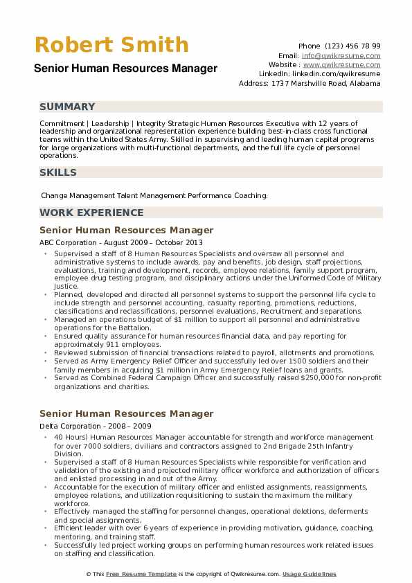 Senior Human Resources Manager Resume example