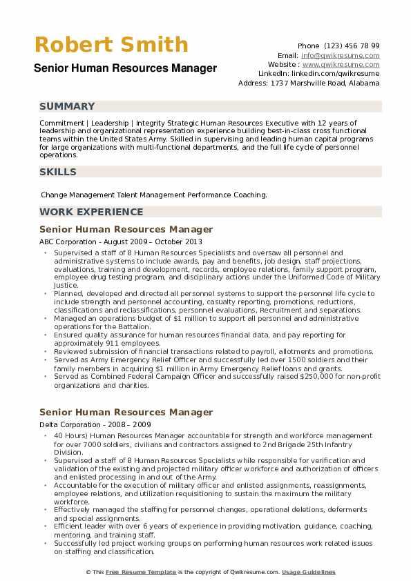 senior human resources manager resume samples  qwikresume