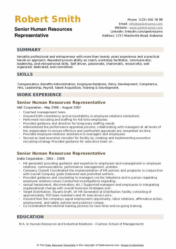 Senior Human Resources Representative Resume example
