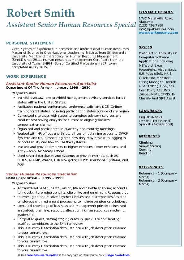 senior human resources specialist resume samples  qwikresume