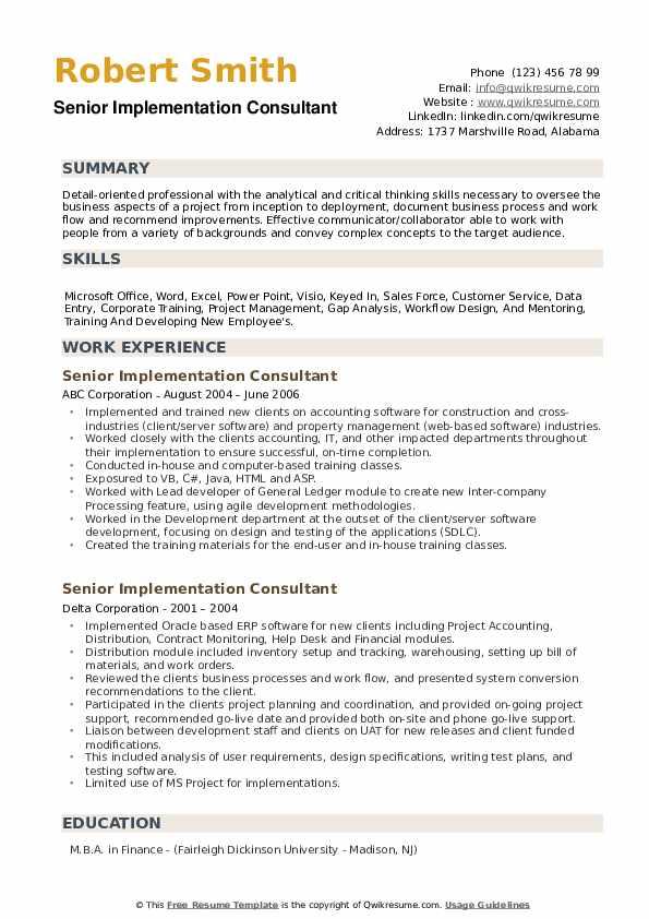 Senior Implementation Consultant Resume example