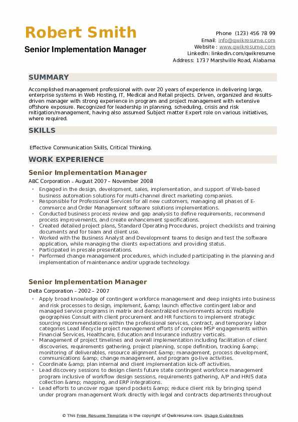 Senior Implementation Manager Resume example