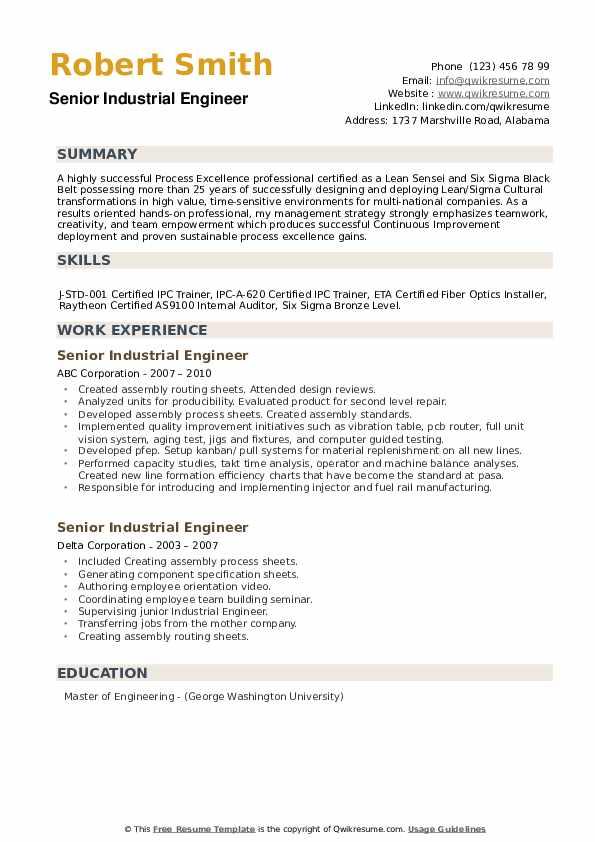 Senior Industrial Engineer Resume example