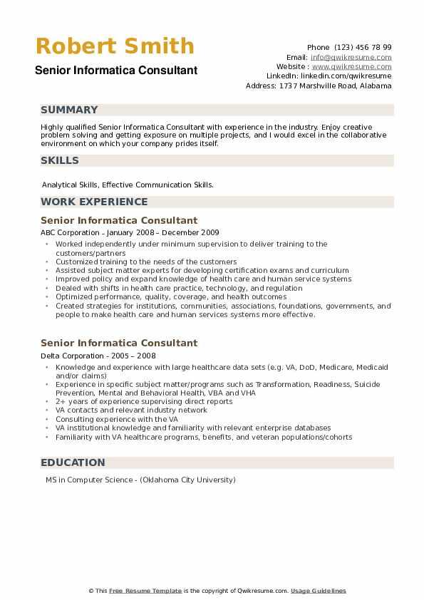 Senior Informatica Consultant Resume example