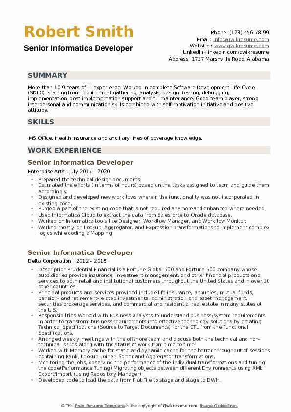 Senior Informatica Developer Resume example