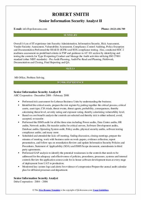 senior information security analyst resume samples