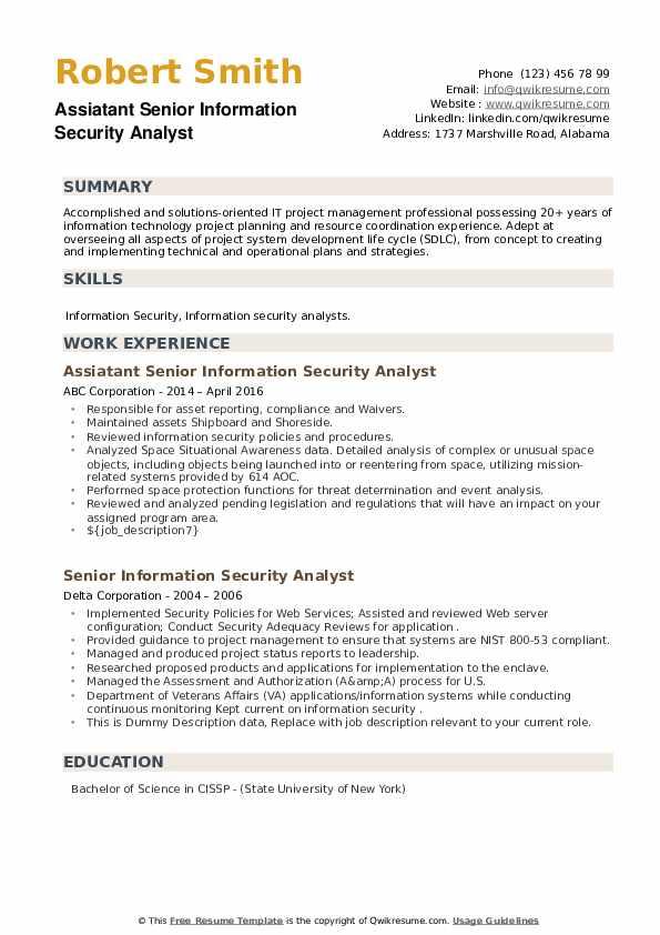 Senior Information Security Analyst Resume example