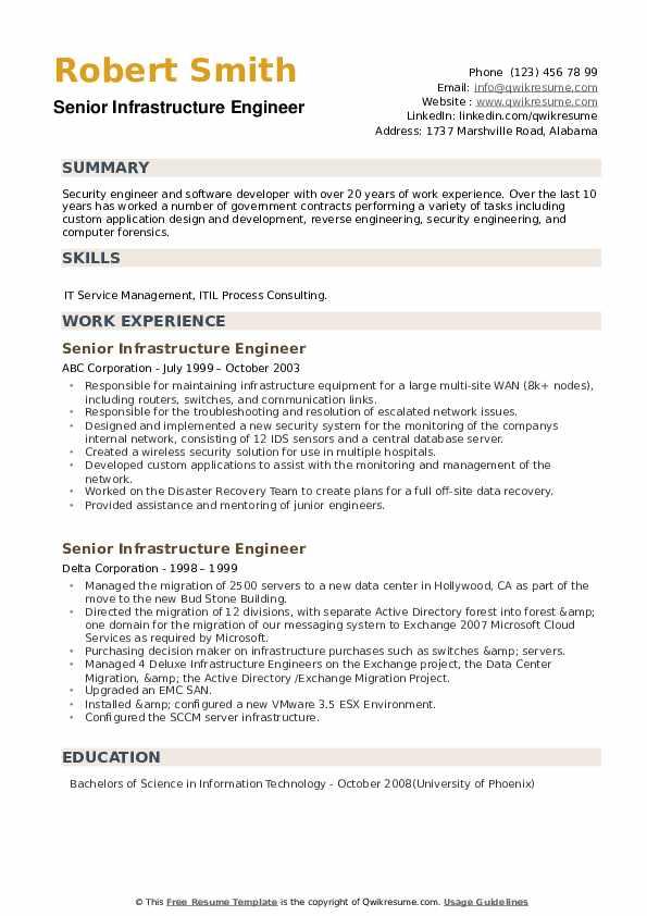 Senior Infrastructure Engineer Resume example