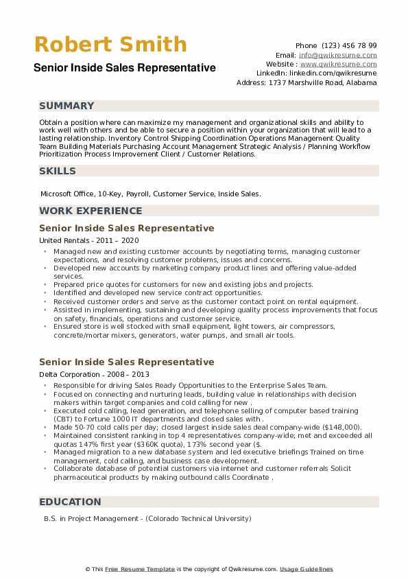 Senior Inside Sales Representative Resume example
