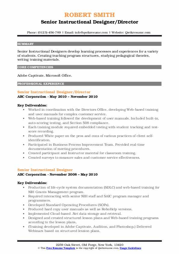senior instructional designer resume samples  qwikresume
