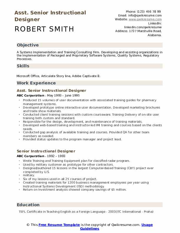 Senior Instructional Designer Resume Samples Qwikresume